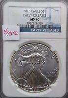 2015 AMERICAN SILVER EAGLE    NGC MS70 EARLY RELEASE   SPOTLESS PERFECT COIN