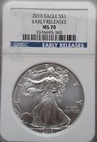 2010 NGC MS 70 AMERICAN SILVER EAGLE   EARLY RELEASE