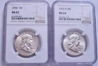 LOT OF TWO NGC SILVER FRANKLIN HALF DOLLARS: 1958 MS62 AND 1963 D MS64