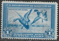 US, RW1, 1935 FEDERAL DUCK STAMP, USED.