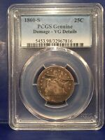 1860 S LIBERTY SEATED QUARTER PCGS VG DETAILS KEY DATE 56,000 MINTAGE