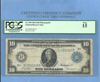 1914 $10 MINNEAPOLIS  FR 939 FEDERAL RESERVE NOTE PCGS 15 NICE NOTE
