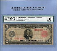 1914 $5 RED CLEVELAND OHIO FR 835 B FED RESERVE NOTE PMG VG 10
