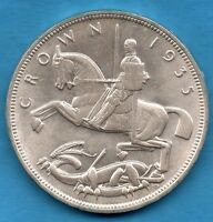 1935 KING GEORGE V SILVER CROWN COIN. GEORGE & DRAGON WITH ART DECO INFLUENCE