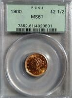 1900 $2.50 LIBERTY GOLD COIN PCGS MS61 QUARTER EAGLE GREEN HOLDER OGH