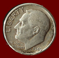 1949 S ROOSEVELT 90 SILVER DIME SHIPS FREE. BUY 5 FOR $2 OFF