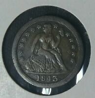 1843 O SILVER SEATED LIBERTY DIME WITH STARS OBVERSE