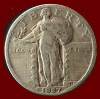 1927-P STANDING LIBERTY 90 SILVER QUARTER SHIPS FREE. BUY 5 FOR $2 OFF