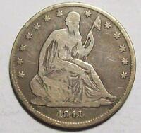 1841 O SEATED LIBERTY HALF DOLLAR  ORIGINAL VG FREE U.S. SHIP 16B41 17