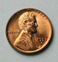 1953D USA LINCOLN WHEAT CENT COIN - ONE CENT 1 - BU UNC RED