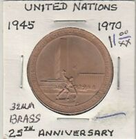 LAMA TOKEN   UNITED NATIONS   1945 1970   25TH ANNIVERSARY   32 MM BRASS