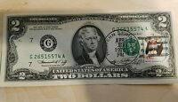 FIRST DAY OF ISSUE BICENTENNIAL STAMPED 1776 1976 US TWO $2 DOLLAR BILL