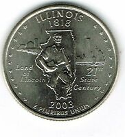 2003 D BRILLIANT UNCIRCULATED ILLINOIS 21TH STATE QUARTER COIN