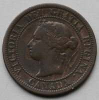 1876 H CANADIAN COPPER LARGE CENT COIN CANADA ONE CENT FINE CONDITION