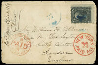 1869 COVER W/12C BLACK F. GRILL 97 TO ENGLAND VIA NEW YORK, CAT $300