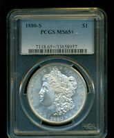 1880 S MORGAN SILVER DOLLAR COIN PCGS MS 65