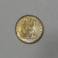 1857 CHOICE AU SEATED LIBERTY HALF NICE LOOKING COIN FROM OLD FAMILY COLLECTION