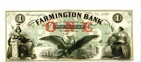 1800'S FARMINGTON BANK NEWHAMPSHIRE  OBSOLETE $1 NOTE. UNC NICE. 1