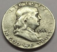 SILVER 1953 D FRANKLIN HALF DOLLAR  U.S. COIN  FREE BUBBLE SHIPPING & TRACKING