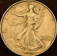 1939 WALKING LIBERTY HALF DOLLAR AU DETAILS
