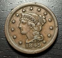 1849 BRAIDED HAIR LARGE CENT   MAKE US AN OFFER    O9319