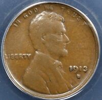 1913-S 1C BN LINCOLN CENT ANACS VF 20