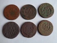 SET OF 6 RUSSIAN EMPIRE COPPER COINS 1/2 KOPECK DENGA 1730 1754 ORIGINAL