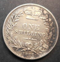 GREAT BRITAIN 1880 VICTORIA  SILVER SHILLING GOOD DETAIL