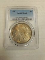 1880 MORGAN SILVER DOLLAR MS 63 PCGS