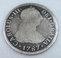 1787 CAROLUS III MEXICO 2 REALES SILVER FOREIGN COIN   LOT P5