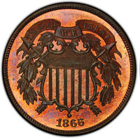 1866 2C PCGS MINT STATE 66RB CAC