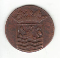 1736 DUTCH NEW YORK PENNY CROWNED ZEELAND ARMS 1 DUIT COLONIAL COIN.