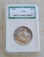 ANI GRADED 1954 FRANKLIN SILVER HALF DOLLAR 'NICE TONING' NOW DEFUNCT