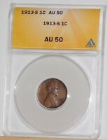 1913 S LINCOLN WHEAT CENT ANACS AU-50  PRICED TO SELL   COIN