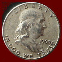 1960 D FRANKLIN 90 SILVER HALF DOLLAR SHIPS FREE. BUY 5 FOR $2 OFF