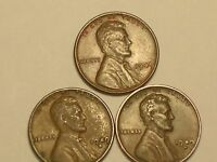 3  LINCOLN WHEAT PENNIES 11949 P 1949 D 1949 S   VERY NICE COINS