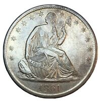 1861 S 50C LIBERTY SEATED HALF DOLLAR AU/DETAILS KEY DATE