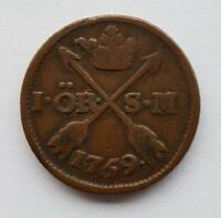 SWEDEN 1 ORE 1769 COIN WITH  DATE