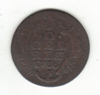 1766 DUTCH NEW YORK PENNY GELDERLAND ARMS 1 DUIT COLONIAL COIN.