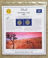 2007 P & D 25C UTAH STATE QUARTERS & STAMPS POSTAL COMMEMORATIVE PANEL  SLEEVE