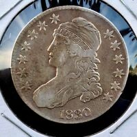 1830 50C OVERTON 116 CAPPED BUST SILVER HALF DOLLAR SMALL 0