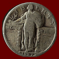 1927 P STANDING LIBERTY 90 SILVER QUARTER SHIPS FREE. BUY 5 FOR $2 OFF