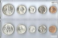 1937 P US SILVER MINT SET   5 CHOICE BU COINS IN A WHITMAN PLASTIC HOLDER