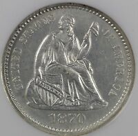 1870 H10C LIBERTY SEATED HALF DIME NGC MINT STATE 64