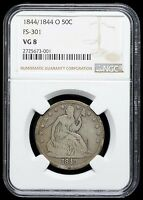 LY  1844/1844 O DOUBLE DIE ERROR SEATED LIBERTY HALF DOLLAR NGC VG8