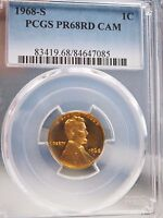 1968 S 1C RD CAM PROOF LINCOLN CENT  PCGS PR68RD CAM 7085