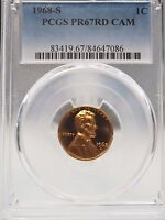 1968 S LINCOLN CENT PROOF PCGS PR67RD CAM/CAMEO 7086