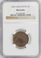 1864 TWO CENT NGC MINT STATE 64BN 2C