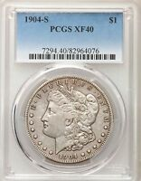 1904 S PCGS XF40 MORGAN SILVER DOLLAR MUCH BETTER DATE LY FINE