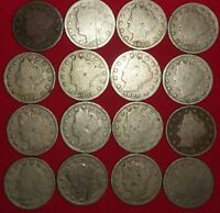 RUN OF V NICKELS FROM 1898-1912 AND 1912D